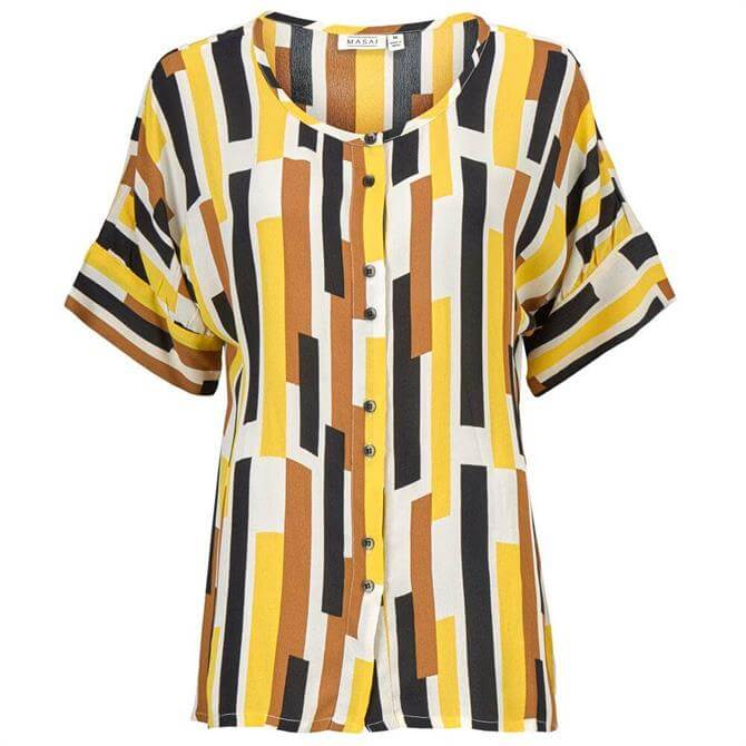 Masai Cream Gold Graphic Print Iesha Shirt